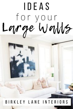 Do you have a big, blank wall you dont know how to decorate Check out 12 affordable large wall decor ideas that are amazing solutions for your living room, bedroom and more! Diy Wand, Big Blank Wall, Big Wall Art, Big Living Rooms, How To Decorate Living Room Walls, Dining Room Wall Decor, Living Room Wall Decor Ideas Above Couch, Dining Rooms, Big Bedrooms