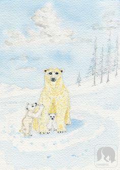 Mom and Baby Polar Bears Animal Artwork Nursery Animal