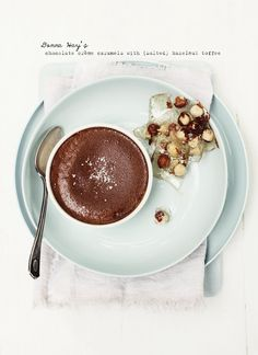 chocOlate creme caramels with salted hazelnut toffee