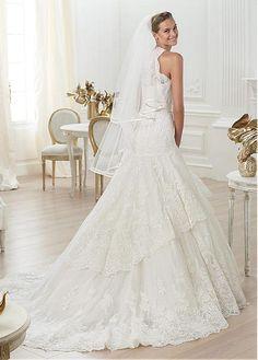 Lush High Collar Natural Full Length A-line Court Wedding Dresses