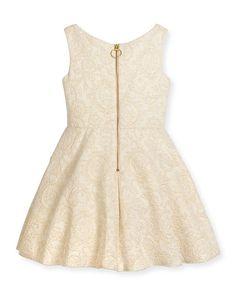 Z1RBX Zoe Sleeveless Metallic Jacquard Dress, Gold, Size 7-16