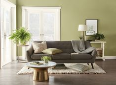 See this living room wall paint color idea: Back to Nature b Behr looks beautiful with wood floors, white trim, gray sofa, beige rug and gold and marble coffee table. Behr Paint Colors, Green Paint Colors, Room Paint Colors, Paint Colors For Living Room, Interior Paint Colors, Valspar Colors, Bathroom Colors, Natural Paint Colors, Back To Nature