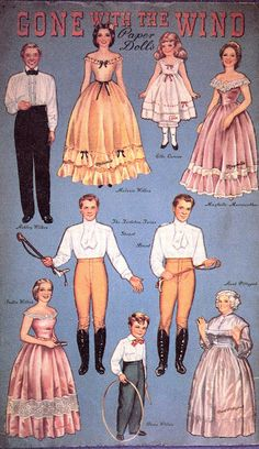 Gone with the wind paperdolls... I love it how females are in sort of underwear and males in shirt and pants... :-D