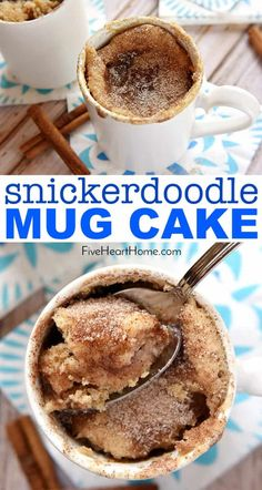 Snickerdoodle mug cake ~ bakes up in the microwave in just one minute yielding a warm cinnamon sugary treat that will satisfy any sweet tooth! fivehearthome com mugcake snickerdoodle snickerdoodlemugcake cinnamon rolls in a mug Easy Mug Cake, Cake Mug, Keto Mug Cake, Mug Cake Healthy, Easy Cake In A Cup Recipe, Mug Cale, Healthy Mug Recipes, Coffe Mug Cake, Vegan Mug Cakes