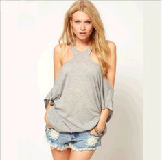 U.S. and Europe in summer 2014 single ultra-wide word back strapless gray T-Shirt hollow loose T shirts womens Sexy  $9.88
