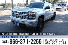 2014 Chevrolet Silverado 1500 LT - Crew Cab Pickup - 4WD - V8 5.3L Engine - Remote Keyless Entry - Alloy Wheels - Tinted Windows - Hitch Receiver - Tow Hooks - Bed Liner - XD Series Wheels - Safety Airbags - Seats 6 - Powered Windows/Locks/Mirrors - AM/FM/CD/XM - Bluetooth - iPod/Aux/USB Ports - Digital Compass - Outside Temperature Display - OnStar - Cruise Control - Turn By Turn Navigation and more!