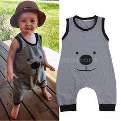 £4.15 GBP - Newborn Infant Baby Boy Girl Bear Outfit Cotton Romper Jumpsuit Bodysuit Clothes #ebay #Home & Garden