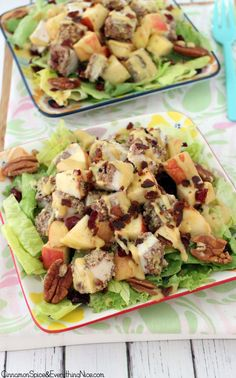 Pecan Crusted Chicken Salad with Apples  Bacon