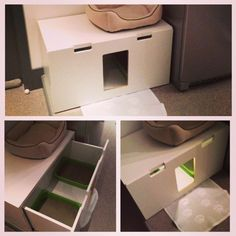 STUVA litterbox for 4 kitties - IKEA Hackers.*wonder if my kitties might like this. Especially in the bedroom. M*