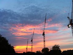 More cranes puncture a West Hampstead sunset - via @okeely