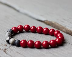 Men's Red Coral and Gray Agate Bracelet