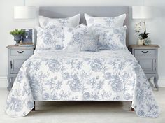 Bianca Elaine Queen King Coverlet Set !  Give your beautiful bedroom a fresh provincial style with the Elaine coverlet set. The intricate blue embroidery is contrasted on beautiful crisp white fabric. The pillow shams and coverlet set feature a flat piped trim.  #quiltcover #manchester #homewares #interiordesign #living #bedroom #decor #fashion #linen #bedlinen #summer #modern #bedding #homedecor #style #fun #life #shopping #fashion #love #pretty #beautiful #Moderninteriordesign…