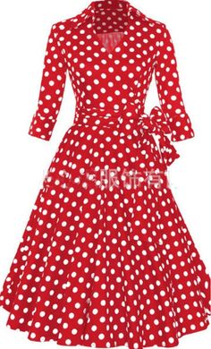 Lily is a classy and formal polyester 3/4 sleeve fit and flare solid dress. These vintage style dresses have a hidden back zipper and an elegant wrap bow belt and are perfect for formal or religious occasions! These dresses are available in S-4XL making it useful for most! Available in red and black polka dots these are sure to be a must have and a must wear!