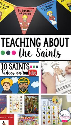 Ideas for teaching about the saints to kids. This is perfect for All Saints' Day and has lots of ideas for Catholic schools and homes. Catholic Schools Week, Catholic Religious Education, Catholic Crafts, Catholic Religion, Catholic Kids, Religious Studies, Catholic Homeschooling, Church Crafts, Ccd Activities