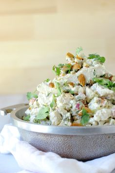 Chunky Chicken Salad with Almonds & Tarragon _ The flavors party well together. Onion & celery make for a great crunch & the toasted almonds provide a nutty taste, a little bit like sesame seeds.
