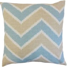 The Pillow Collection Hoku Zigzag Linen Throw Pillow Cover Color: