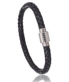 Bracelet cuir noir Olbia