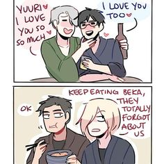 Headcanon: when yuuri and victor get drunk, they're super lovey-dovey and forget everyone around them lol #yurionice #victuuri #victuri #yuurikatsuki #victornikiforov #yuriplisetsky #otabekaltin #randomsplashes