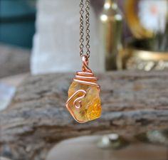 Natural Citrine Necklace  Wire Wrapped door MermaidTearsDesigns