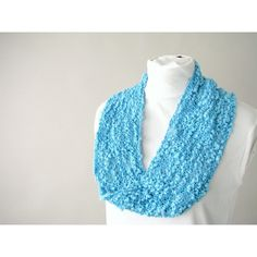 Handknit Cotton Lace Fashion Loop Scarf ($50) via Polyvore featuring accessories, scarves, lace shawl, lace infinity scarf, hand knit infinity scarf, round scarf and cotton infinity scarf