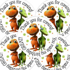 20  2 Inch round Dinosaur Train Birthday sticker by bafoodle, $6.00