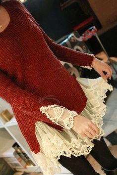 Lace (or ruffles) sewn into the bottom of a sweater or shirt would be so cute.