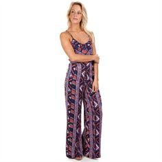 Angie Juniors Printed Woven Jumpsuit with Tie Back Detail | from Von Maur #VonMaur #Purple #PrintedJumpsuit #Summer #Fashion #Outfit