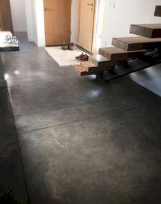 70 Smooth Concrete Floor Ideas for Interior Home - Fußböden Concrete Kitchen Floor, Painted Concrete Floors, Concrete Slab, Stained Concrete, Concrete Countertops, Kitchen Flooring, Basement Concrete Floor Paint, Concrete Floors In House, Finished Concrete Floors