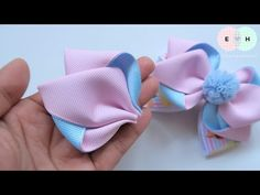 – How to make a bow with ribbon - Hybrid Elektronike Ribbon Hair Bows, Diy Hair Bows, Diy Bow, Diy Ribbon, Ribbon Crafts, Ribbon Flower, Fabric Flowers, Diy Crafts, Ribbon Bow Tutorial