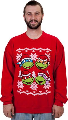 Faces Ninja Turtle Faux Christmas Sweater When Christmas rolls around, I want this sweater.