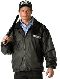 Security Jackets Reversible Polar Fleece Jacket nylon outershell and polar fleece lining. Security logo embroidered on back and left chest in white th Security Logo, Security Guard, Security Uniforms, Rain Jacket, Bomber Jacket, Polar Fleece, Black Nylons, Halloween Costumes, Windbreaker
