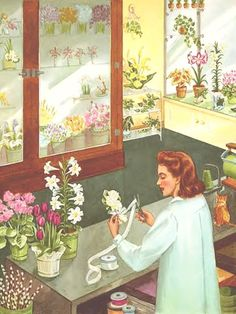 This is one of the most amazing illustrations..I adore it! #florist #floral shop #vintage