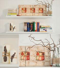 Herbst-Dekoration auf vollen Touren… Bild (DIY), Kerzen (DIY), Flaschen mit Zweigen (DIY: Es waren vorher Bommelblumen drin, jetzt für den Herbst umdekoriert)