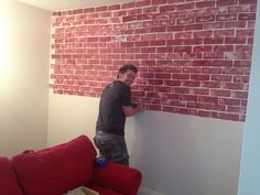 Cut a car sponge into the shape of brick and gently dip into red paint and…