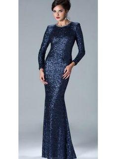 Wholesale 2013 Sheath Long Evening Dresses Sequins Long Sleeves Prom Dress 2946