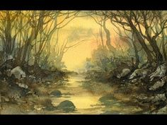 Watercolour Demonstration. Autumnal Woodland Stream Speed Painting. - YouTube