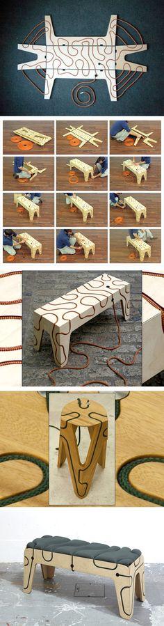 Mobilier shibari par Yoav Reches. Le designer Yoav Reches réalise « des Meubles Extensibles » qui ne nécessitent aucun outil, juste un peu de bon sens. Faits de bois, un peu de métal et de corde. La corde, guidée par un modèle de cannelures, sert à mentir les différentes parties du meuble mais aussi donne un effet graphique. Le morceau minuscule de métal est en acier inoxydable. Tout ceci donne un ensemble harmonieux et un côté naturel.