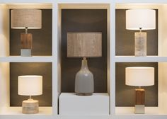 A variety of lighting options from Surya featuring textural wood accents!