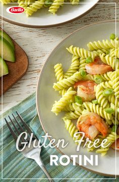 Gluten free pasta for the win! Gluten Free Rotini tossed with shrimp and avocado coconut pesto. A quick and casual meal that's sure to be a hit with your friends and family.