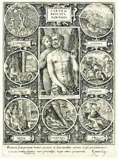 """""""Theodor Galle - The Seven Deadly Sins, """"Septem Peccata Mortalia"""", Adam and Eve in central image surrounded by seven roundels with biblical scenes showing the seven deadly sins : """"Pride"""" as the fallen angels; Seven Deadly Sins Symbols, 7 Deadly Sins, Ananias And Sapphira, Sin Tattoo, Cain And Abel, 7 Sins, Religion Catolica, The Embrace, Adam And Eve"""