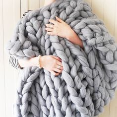 Thick Knit Blanket Giganto Blanket Tutorial Explains How to Make A Chunky soft Warm Handmade Chunky Knit Blanket Thick Yarn Thick Knit Blanket . Yarns Be Chunky Hand Knitted Throw by Lauren aston 10 Gorgeous Diy Blanket Tutorials Nifty Diys. Fuzzy Blanket, Chunky Blanket, Merino Wool Blanket, Chunky Knit Throw, Chunky Wool, Chunky Knits, Knitted Blankets, Knitted Bags, Throw Blankets