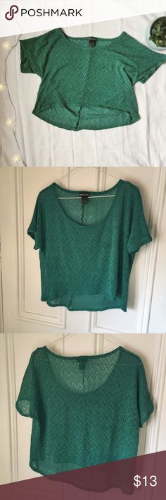 """Wet Seal lacy green crop top Great condition--this top is size extra large.   Sleeve circumference: 14"""", bust: 39"""" Wet Seal Tops Crop Tops"""