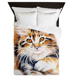 Art Bedding Adorable Furry Kitten Queen Duvet