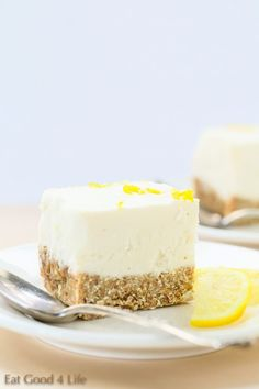 Gluten free vegan no bake lemon cheesecake. Super refreshing and light. From Eat Good 4 Life.