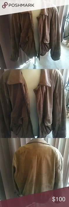Vintage calf skin men's jacket Brown leather vintage jacket paid $600 premo condition george town leathers Jackets & Coats Bomber & Varsity