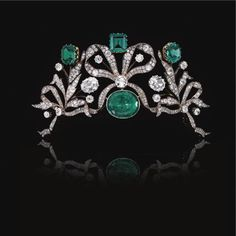 Belgian Royal Emerald & Diamond tiara.  I'm Belgian.  So... possibly Belgian royalty.  I'd like to try the thing on-- it's probably like Excalibur.  @Felisha Willaert