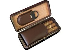 3 Cigar Folding Leather Travel Case w/ Cutter (Brown)