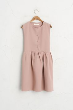 Button Down Sleeveless Dress, Pink