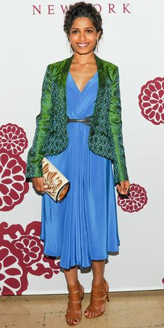 Freida Pinto brightened up the room at a Barneys bash for The Maiyet Varanasi Silk Capsule Collection in a vibrant ensemble and leather accessories.