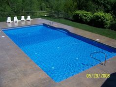 Stamped concrete pool deck. My all time favorite pool. Great for laps, deep and shallow aerobics. And no diving board! A ton of fun with family and friends. Dreaming........
